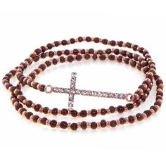 Heirloom Finds Sideways Crystal Cross Three Strand Seed Bead Bracelet Set in Rose Gold and Chocolate , beads shop Seed Bead Bracelets, Strand Bracelet, Bracelet Set, Seed Beads, Jewelry Bracelets, Sideways Cross, Crystal Cross, Bead Shop, Stocking Stuffers