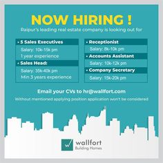 Wallfort properties are premier real estate developers in Raipur, Chhattisgarh. We provide both residential and commercial properties with best amenities. Company Secretary, We Are Hiring, Join Our Team, Job Posting, Real Estate Development, Real Estate Companies, Banner Design, How To Apply