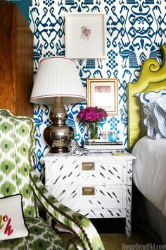 how fun is this bedroom? Love the combination of blues and greens and such a cool nightstand. this could be a fun DIY