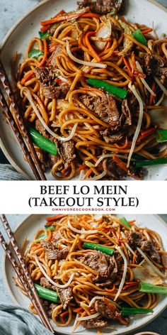 Tender slices of beef mingling with thick lo mein noodles, vegetables, and a savory sauce are perfect for tonight's dinner in this beef lo mein. And it takes less time than takeout to put on your table! Healthy Pasta Recipes, Delicious Dinner Recipes, Veggie Recipes, Lamb Recipes, Lunch Recipes, Asian Noodle Recipes, Asian Recipes, Ethnic Recipes, Cooking Chinese Food