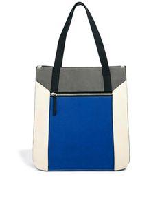 Warehouse Colourblock Shopper Bag