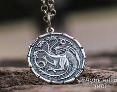 Targaryen Pendant Game of Thrones Jewelry Sterling Silver House Targaryen Necklace Daenerys Amulet