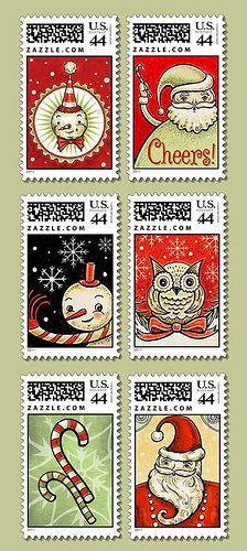 Six-Holiday-Stamps (Johanna Parker)- an alternative to USPS Christmas stamps