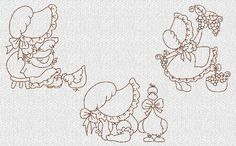 INSTANT DOWNLOAD Sunbonnet Sue Girls Set 3 by embroiderygirl, $7.50
