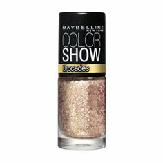 Maybelline Color Show #Brocades Nail Enamel $5.95. Metallic glitter shades in a holographic base for a luxurious brocade look and texture. Chip-resistant formula applies smoothly and evenly with an easy-flow brush. Free from formaldehyde, DBP and toluene. This shade is Knitted Gold. #nailart #glitternails