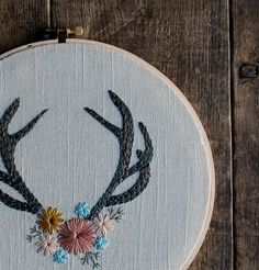 Antler Hoop Art Hand Embroidered Hoop Art Antler by LoveMaude