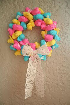 peep wreath---hang it or eat it??? #Wreath #Peeps #Spring