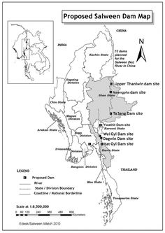 Map of the 13 proposed dams on the Salween (Nu) River in China.