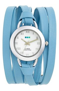 Farb-und Stilberatung mit www.farben-reich.com - #lamercollections Wedgewood Blue 'Saturn' Leather Wrap Watch available at #Nordstrom