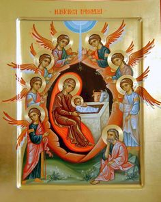 The Nativity of Christ Religious Images, Religious Icons, Religious Art, Christmas Icons, Christmas Images, Christian Mysticism, Faith Of Our Fathers, Triptych Art, Roman Church