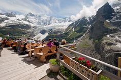 I would gladly do this one hour uphill hike to enjoy this view and a nice beverage! Near Murren, Switzerland.