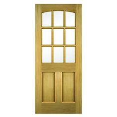 Wickes Georgia External Oak Veneer Door Glazed 2 Panel 1981 x External Timber Doors, Glazed External Doors, Modern Exterior Doors, Veneer Door, Pine Doors, Wooden Front Doors, Door Furniture, Georgia, Light Design