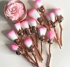 Rose stem makeup brushes