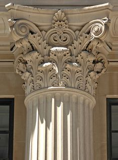 Corinthian Capital with stylised acanthus leaf motif......I have to draw this for my art history class......