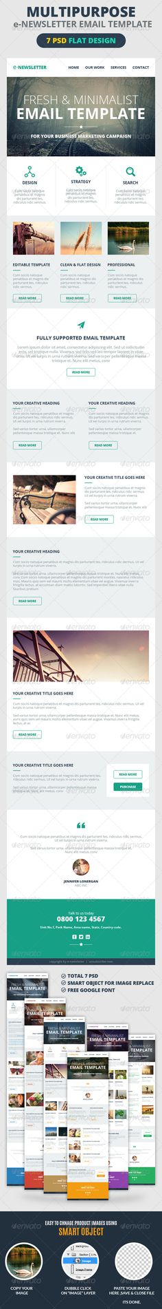 Multipurpose E-Newsletter Email Template Design color, Template