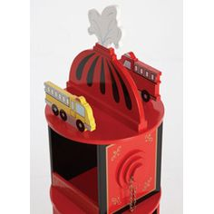 @Overstock.com - Add some fun to your child's room with a Firefighter revolving bookcase  Kids' furniture is fire engine red with black and gold accents  Charming bookcase also features fire hydrant with real chains on hose connectionshttp://www.overstock.com/Home-Garden/Firefighter-Revolving-Bookcase/4383797/product.html?CID=214117 $157.00