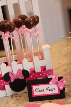 Minnie Mouse cake pops!  See more party ideas at CatchMyParty.com!