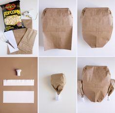 paper bag popcorn turkey tutorial