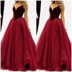 Ball Gown Sweetheart Sleeveless Tulle Floor-Length Dresses ($155) ❤ liked on Polyvore featuring dresses, gowns, red dress, sleeveless summer dresses, red floor length dress, red evening dresses and tulle gown