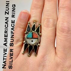 Rare Vintage Zuni Sunface Sterling Silver Ring This is a Rare Vintage Native American Zuni Sterling Silver Sunface Turquoise, Onyx, Coral & Mother Of Pearl Ring. Size 5. No markings but tested and confirmed 925 Silver. The ring is 38.7 mm wide at the widest point & 3.0 mm at the skinniest point. Weighs 6.93 grams. This ring is in great vintage condition & has not been cleaned due to age. You will for sure get lots of compliments! 💕Thanks for looking! I ship out same day! Please make…