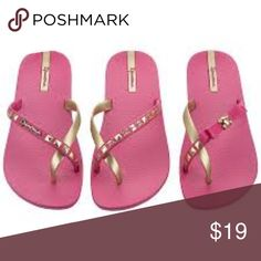 9636bfb75c2 NIB Ipanema Pink and Gold Pair of 3 Flipflops Style is Lady Rock which has  gold