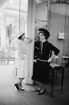 Mark Shaw - Coco Chanel with Suzy Parker in a Dark Suit | From a unique collection of black and white photography at http://www.1stdibs.com/art/photography/black-white-photography/