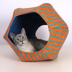 Orange and Turquoise Stripes Cat Ball a Modern Cat Bed. $69.00, via Etsy.
