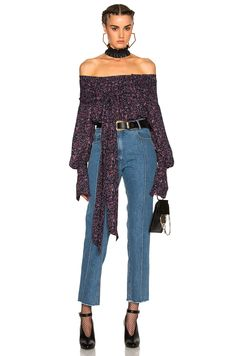Magda Butrym Mons Long-sleeve Floral-print Off-the-shoulder Blouse, Purple In Purple Floral Magda Butrym, Crop Top Outfits, Tank Shirt, Autumn Winter Fashion, Fall Fashion, Casual Looks, Off Shoulder Blouse, Crop Tops, My Style