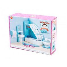 Le Toy Van - Sugar Plum - Bathroom: Sugar Plum dolls and accessories are perfectly scaled to fit the Le Toy Van doll houses.  A beautiful bathroom set complete with toilet, shower, sink, towel rack and more. Age: 3+ Years #alltotstreasures #letoyvan #sugarplumbathroom #woodentoys #bathroom #pretendplay #bathroomset