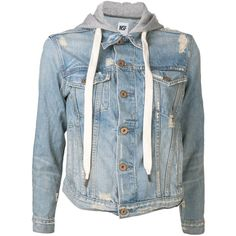 NSF 'Adam' jean jacket (5.140 ARS) ❤ liked on Polyvore featuring outerwear, jackets, tops, shirts, blue cotton jacket, long sleeve jean jacket, blue denim jacket, hooded jacket and hooded denim jacket