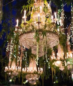 Lighting up this romantic reception with elegance and glamour! Preston Bailey Wedding, Luxury Wedding, Dream Wedding, Outdoor Chandelier, Wedding Expenses, Strictly Weddings, Wedding Videos, Here Comes The Bride, Wedding Supplies