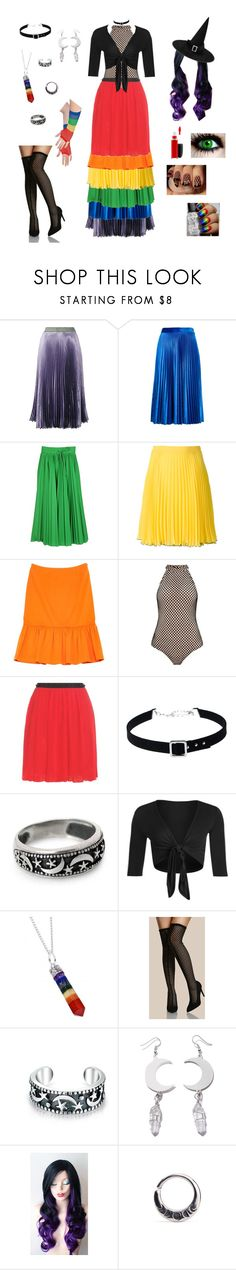 """Rainbow Strega"" by valaquenta ❤ liked on Polyvore featuring Christopher Kane, MSGM, RED Valentino, Boutique Moschino, Prada, Giamba, WithChic, NOVICA, WearAll and Bling Jewelry"