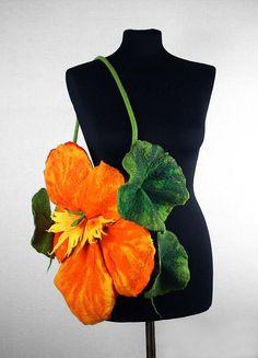 Felted Bag Nasturtium Purse Flower handbag wild Felt par filcant, $199.00   {^V^}    =^,^=