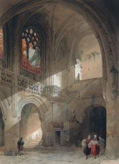 Interior of the church of St. Saveur, Caen, 1830, David Roberts. (1796 - 1864)  - Pencil and Watercolour -