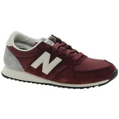New Balance 420 Premium Trainers ($85) ❤ liked on Polyvore featuring shoes, sneakers, red, new balance footwear, grip shoes, red shoes, traction shoes and low top