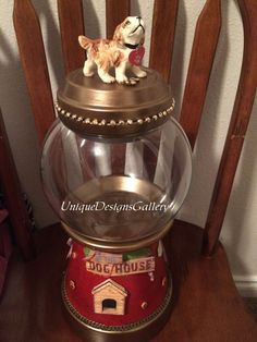 Dog Treat Candy Jar Cookie Jar Gumball by UniqueDesignsGallery