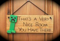 Minecraft Creeper Inspired Wooden Door Plaque Sign Great Gift for a Yogscast Fan. via Etsy. - Craft ~ Your ~ Home Door Signs, Wall Signs, Wooden Doors, Wooden Signs, Minecraft Room, Minecraft Stuff, Mine Minecraft, Minecraft Ideas, Holidays Events