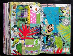 so much going on here, i love the colors and leafy motifs, makes me want to pull out the magazines and colored pencils and glue stick. from flickr by deLoto