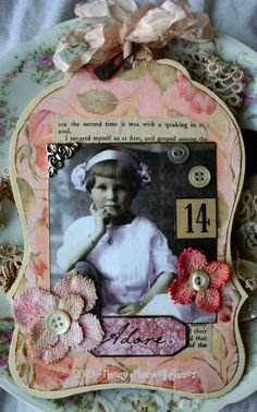 Shabby Pink Chipboard tag (front} | Sugar Lump Studios (Nancy Maxwell James) | Flickr