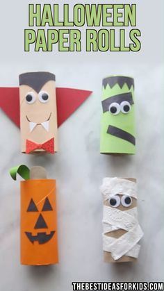 halloween manualidades HALLOWEEN CRAFTS FOR KIDS: these Halloween toilet paper rolls are too cute! A pumpkin, mummy, frankenstein and vampire toilet paper roll crafts for Halloween. An easy Halloween craft for toddlers or preschool! Theme Halloween, Halloween Arts And Crafts, Halloween Crafts For Toddlers, Fun Diy Crafts, Fun Crafts For Kids, Diy Halloween Decorations, Toddler Crafts, Preschool Crafts, Halloween Diy