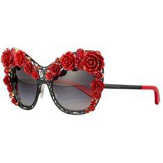 ef9fc9e7a2 Dolce  amp  Gabbana Dolce Lace Rose  amp  Rhinestone Cat-Eye Sunglasses  ( 2