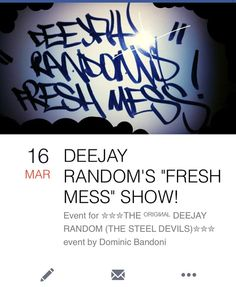 """Live tomorrow night on http://ift.tt/1S1vsbC DeeJay Random's """"Fresh Mess"""" Show. Featuring the Dopest Hip Hop Funk Soul BBoy Breaks and other Fuckery all torn to pieces on two turntables and a mixer. 8pm (GMT). Be a listener not a loser #TheIncredibleDeeJayRandom #TheSteelDevils #TheFreshMessShow #Mixlr #HipHop #Rap #DJ #DJSet #DJLife #Bboy #BboyStyle #beats #Funk #Soul #Live #Broadcast #UKHipHop #Party #Scratching #Turntablism #Technics #1210s #Vestax #BeAListenerNotALoser by mrdeejayrandom…"""