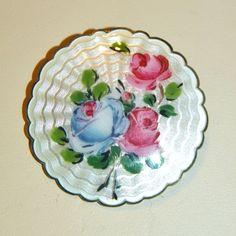 Vintage Ivar Holth Guilloche Enamel Flower Brooch, Sterling, Norway from Jen-n-l Vintage Jewels on Ruby Lane