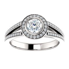 10kt White Gold 4.8mm Center Round Cubic Zirconia and 96 Accent Round Diamonds Engagement Ring...(ST122203:253:P).! Price: $609.99