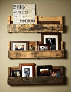 Recycling Pallets for Home  - hold frames/pictures or books