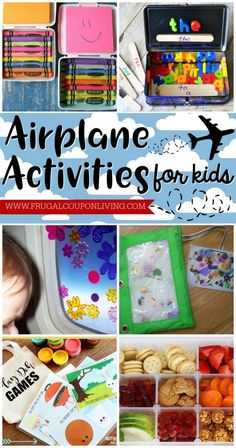 Airplane activities for kids on Frugal Coupon Living. What to do on a plane with traveling with children. Preschool to elementary kid ideas.