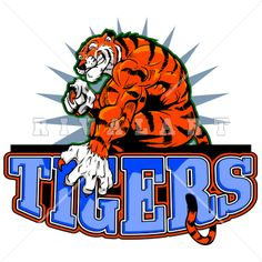 Mascot Clipart Image of A Muscular Tigers Logo In Color http://www.rivalart.com/cart/pc/viewCategories.asp?idCategory=102&opid=5