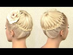 Crown braid tutorial Prom updo hairstyle for medium long hair - YouTube