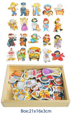 MAGNETIC Occupations PROFESSIONS Game in WOODEN Storage BOX EDUCATIONAL PRESCHOOL Toy