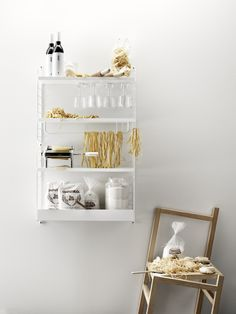 Pasta and String in your kitchen is always a good idea🍝💛 Scandinavian Shelves, Scandinavian Furniture, Scandinavian Design, Built In Shelves, Metal Shelves, String System, Modular Shelving, Improve Yourself, Storage